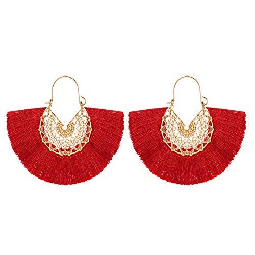 WFZ17 Pendientes de aro bohemios en forma de abanico, con flecos, flores, para mujeres y niñas, color rojo