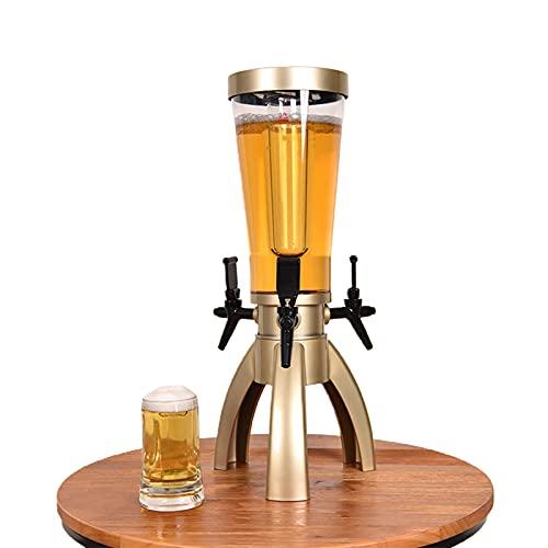 GQTYBZ Torre de Cerveza Transparente, Dispensador de Cerveza con Tubo de Hielo ExtraíBle y Tres Boquillas, Dispensador de Bebidas de Base Triangular Estable, Accesorios para Bar en Casa, Dorado 3L