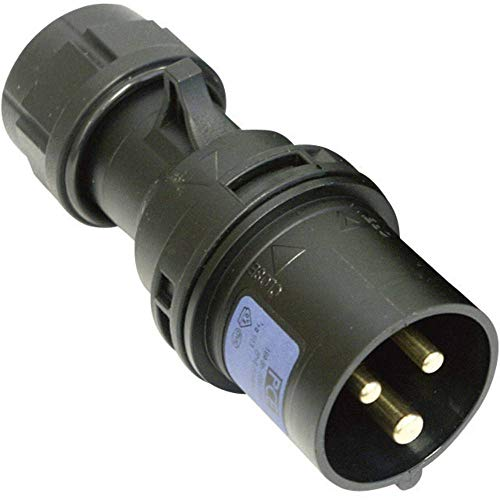 PCE CEE-Cara stekker, 16 A, 3-polig, 013-6 x 230 V, zwart, 1 stuk