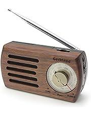 ポータブルラジオ FM/AM対応 小型 モノラル 簡単な使用 携帯ラジオ 高感度ラジオ 木目調 保証付き