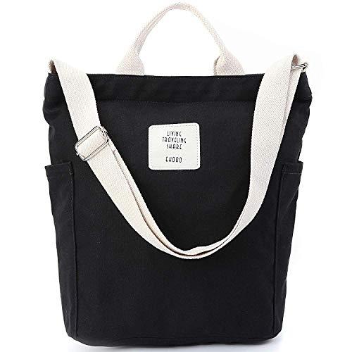 Yidarton Damen Umhängetaschen groß Tasche Casual Handtasche Canvas Chic Damen Schultertasche Henkeltasche für Schule Shopping Arbeit Einkauf (Schwarz)