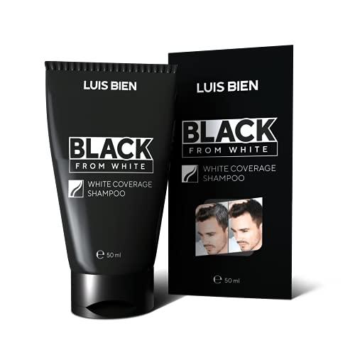 Luis Bien Champú de cobertura negra de color blanco, no más cabello gris, cuidado del cabello