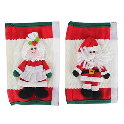 Conkergo 1pair Navidad Nevera Mango Cubiertas Microondas Horno Lavavajillas Puerta Manija Cubierta Protector Decoración