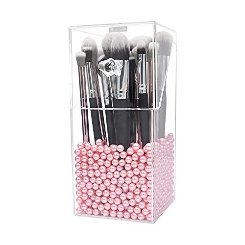 Organizador de pincel para maquillaje,organizadores acrílicos Dolovemk y caja a prueba de polvo Storager,organizador de maquillaje acrílico con tapa,para tocadores y baños,con perla rosa