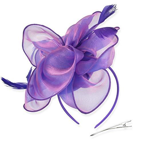 Sombrero del Coctel de la Fiesta del té, Gorros Flor de Malla Organza Cintas Plumas en una Diadema y un Clip de Horquilla for niñas y Mujeres zcaqtajro (Color : Purple, Size : 8.2 Inch)