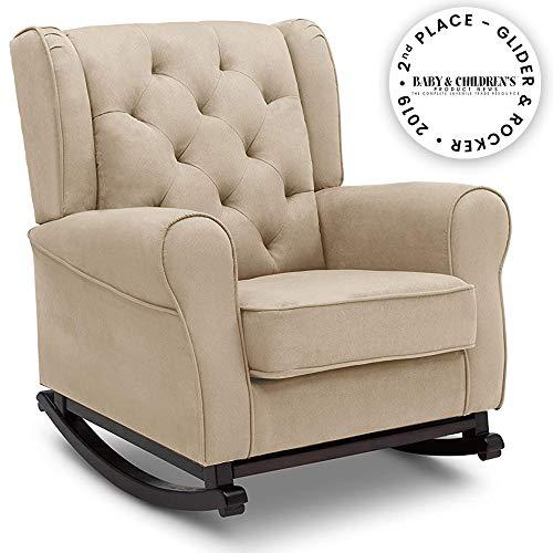 Delta Children Emma Upholstered Rocking Chair, Ecru