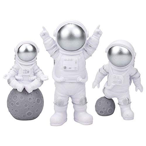 Vegena Astronauten Figur Spielzeug, 3 Stück Spaceman Statuen Modell Kuchen Topper Geburtstag Weltraum Thema Party Geschenke Tischdeko Auto Armaturenbrett Ornament Silber