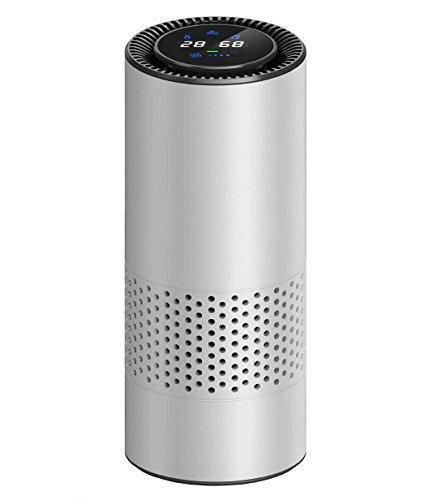 Control de gestos HEPA purificador de aire para los enfermos de alergia, eliminar el polvo de fumar polen y malos olores, perfecto para el escritorio de oficina de coche y dormitorio(Plata)