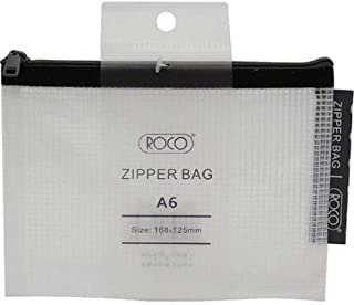 Roco RQ-FB8063BLK A6 Topload Opening Document Pouch, Clear-Black Accent