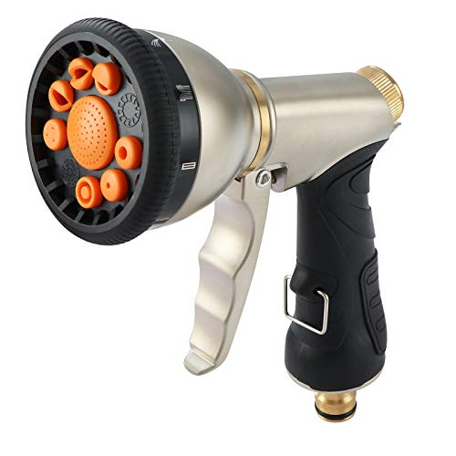 Fippy Pistola De Riego, Pistola Pulverizadora de Metal para Manguera de jardín, 9 Patrones Ajustables, Pistola de agua de metal resistente para riego de plantas, lavado de automóviles y mascot