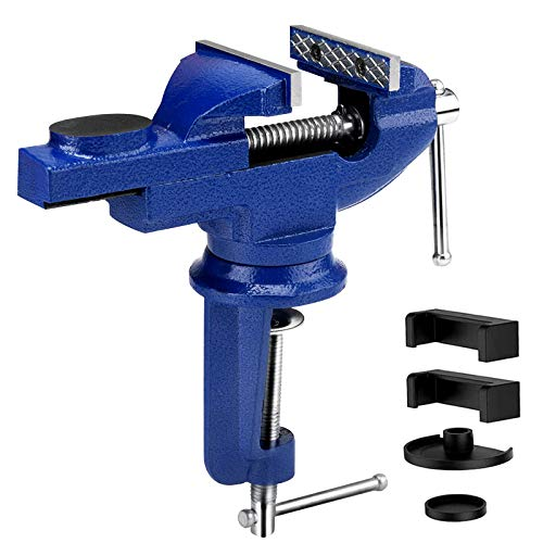 Auidy_6TXD Table Vice, 3 Inch Bench Vise Woodworking Clamp with 360°Swivel Base and Protective Pads Portable Clamp-on Work Vise Tool for Drilling Cutting Conduit Metalworking