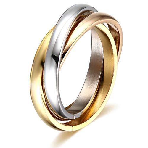 FOXI YOUTH Anello da Amore per Matrimonio da 3 mm in Acciaio inossidabile intrecciato a tre Colori da Donna 3MM per Regalo di anniversario Ragazza