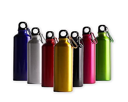 Cieffe Cantimplora de aluminio de 500 ml con gancho, botella de agua sin BPA para senderismo y deportes (amarillo)