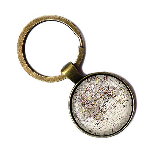 Ancient World Map #1 Keychain Bronze Schlüsselanhänger