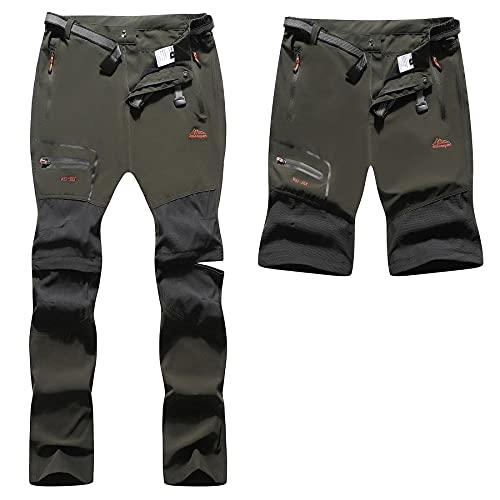 BenBoy Pantalones Trekking Trabajo Hombre Impermeables Convertible Pantalones Cortos Montaña Escalada Senderismo Transpirable Ligero Secado Rápido Pantalon Aire Libre KZ2342M-Army Green-L
