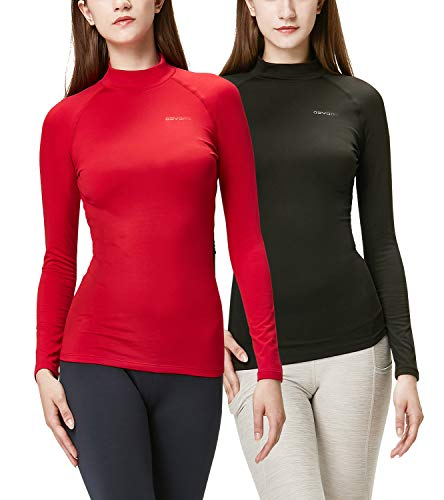 DEVOPS Women's 2 Pack Thermal Turtle Long Sleeve Shirts Compression Baselayer Tops (X-Small, Black/Red)