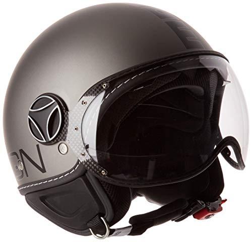 MOMO Design Momodesign casco jet fgtr Evo, Titanium mate Logo negro, talla M