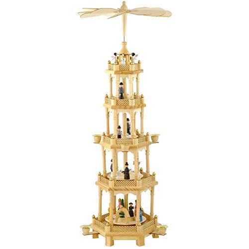 OBC Weihnachtspyramide/Naturtöne/Pyramide Weihnachten / 5 Etagen/im Erzgebirge Stil, handgefertigt/Deko zu Weihnachten