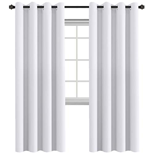 White Curtains for Bedroom White Curtain 96 inches Long for Christmas Thermal Insulated Window Treatment Panel / Drape for Living Room, White, One Panel, Grommet Top