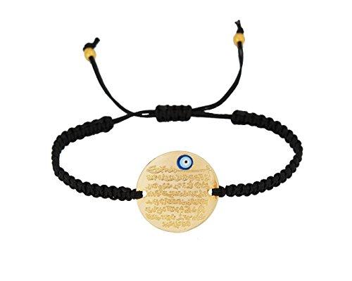 Remi Bijou - Gravurplatte Armkette Armband Makramee - Ayetel Kürsi Gebet für Muslimen Allah Islam - mit türkischem Auge Nazar Boncuk