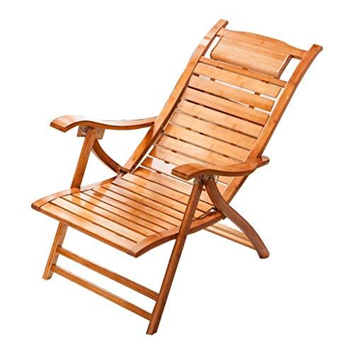 Household Necessities/bamboehout woonkamer Recliner stoel ontvangst balkon senioren lunchpauze tuinstoel klapstoel gewicht 180 kg 48*57*113CM Houtkleur.