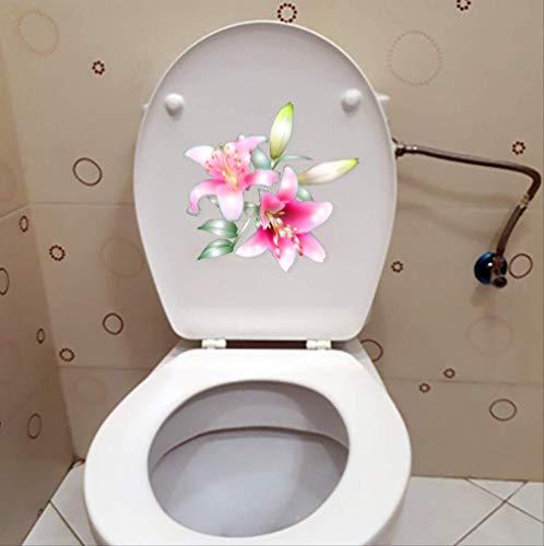 Autocollant De Toilette Blooming Lily Classic Home Decor Wc 22.6 * 21.8Cm De Mur
