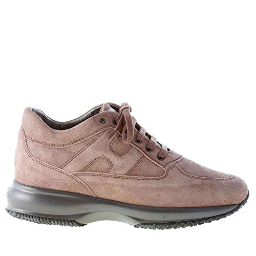 Hogan Donna Interactive Sneaker in camoscio PALUDE Color Beige Size 39.5