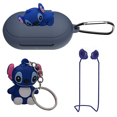 Stitch Silicone Case for Galaxy Buds/Galaxy Buds+ Plus, 4 in 1 Silicone Accessories Set Protective Cover, Silicone Case/Keychain/Carabiner/Anti-Lost Rope,Manually Paste The Doll (Dark Blue & Stitch)