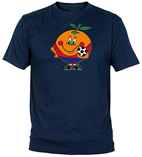 Desconocido Camiseta Naranjito Adulto/niño EGB ochenteras 80´s Retro (L, Marino)