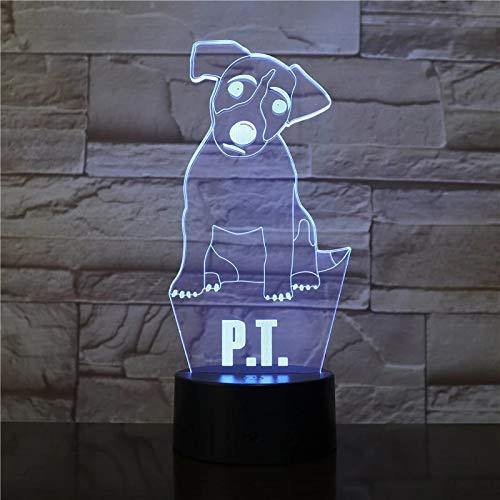 Creativo animal doméstico lindo perro 3D lámpara de mesa acrílico multicolor decoración luz de noche regalo