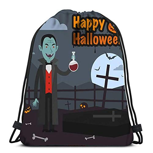 Hdadwy Mochila con cordón Bolsas Deportivas Cinch Tote Bags Halloween Drácula sostiene un Tubo de Sangre para Viajar y almacenar