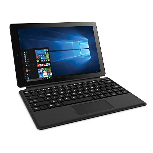 "2018 RCA Cambio 2-in-1 10.1"" Touchscreen Tablet PC, Intel Quad-Core Processor, 2GB RAM, 32GB SSD, Detachable Keyboard, Webcam, WiFi, Bluetooth, Windows 10, Black"