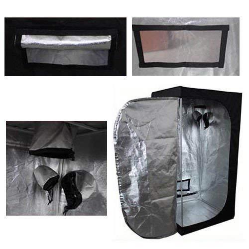 Senua Hydroponics Grow Room Tent 60x60x140 cm Silver Mylar PVC Free