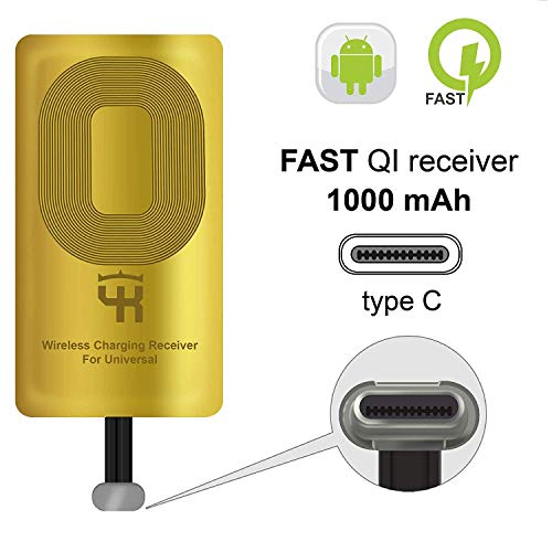 YKing QI Type C compatible with Google Pixel 3a 2-2XL- XL - LG V20 - LG G5 - LG Stylo - HTC 10 - Nexus 6P - OnePlus 3-5 - Qi Wireless Receiver - QI Receiver - Type C Wireless Charging Receiver Adapter