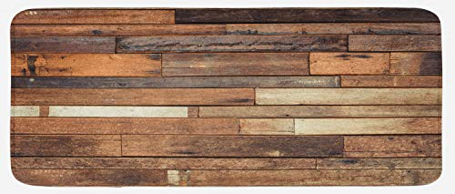 Ambesonne Wooden Kitchen Mat, Rustic Floor Planks Print Grungy Look Farm House Country Style Walnut Oak Grain Image, Plush Decorative Kitchen Mat with Non Slip Backing, 47' X 19', Brown