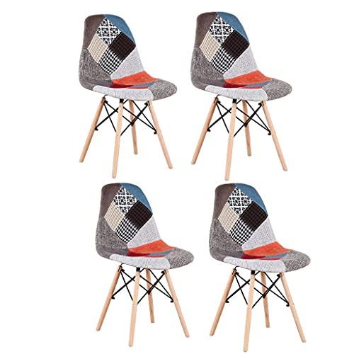 Silla de oficina para salón, silla de comedor plegable, silla de madera maciza con marco de hierro, adecuada para cocina, comedor, dormitorio, salón (Red-bb, 4)