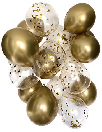 Cavore Konfetti Luftballon Set in Gold metallic – 20 Stück – Partydeko Ballons für Geburtstag, JGA, Taufe, Hochzeit, Babyparty & Silvester