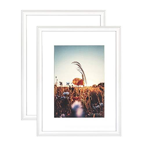 Home&Me 100% Echtholz Bilderrahmen Modern Weiß 30x40cm 2er Set -mit Passepartout 21x30 cm (A4), Fotorahmen mit Echtglas für Zertifikat zum aufhängen