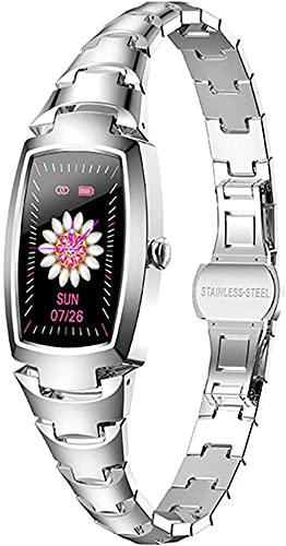 Smartwatch Pulsera de fitness para mujer, multimodo deportivo, seguimiento de frecuencia cardíaca, recordatorio de llamadas, pulsera de salud, color plateado