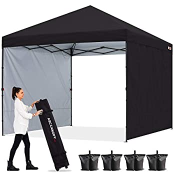 ABCCANOPY Outdoor Easy Pop up Canopy Tent with 2 Sun Wall 10x10 Black
