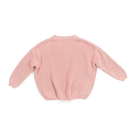 Suéter de punto de manga larga para bebé y niña, suéter de punto liso, sudadera con cuello redondo cálido para otoño e invierno, rosa, 3-4 Años