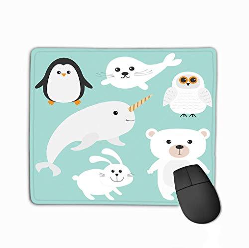Mousepad rutschfester Gummi personalisierte einzigartige Gaming Mauspad Arctic Polar Animal Set Weißer Bär Eule Pinguin Robbe Welpe Baby Harfe Hase Kaninchen Narwal Einhorn Fisch Kinderkarten Blau