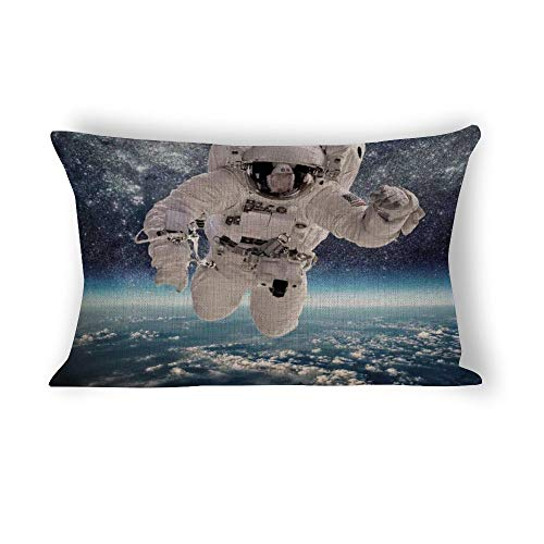 Yilooom Outer Space Theme Astronaut In Milkyway Rectangle Decorative Cotton Linen Throw Pillow Case Cushion Cover Lumbar Pillowcase for Couch Sofa Bed 20 X 30 Inches