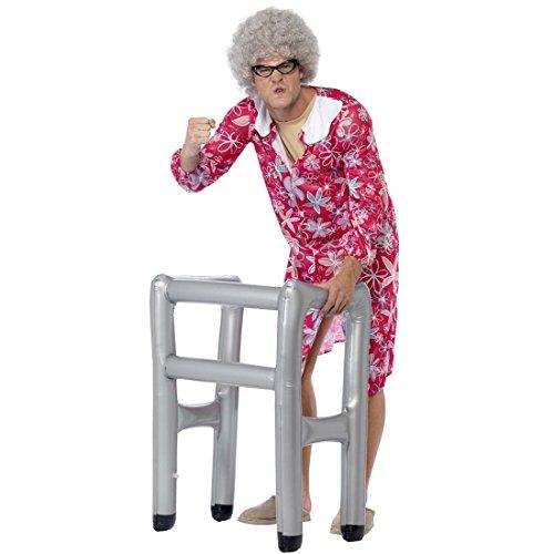 NET TOYS Aufblasbare Gehhilfe Gehgestell zum Aufblasen Gehrahmen Kostümzubehör Alter Mann Kostüm Accessoire Opakostüm Zubehör Mottoparty Rentner