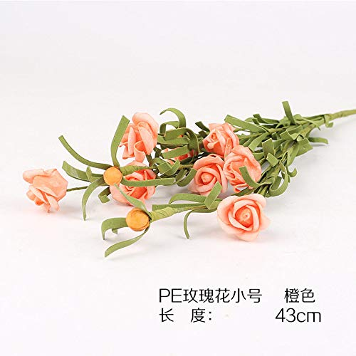 LXFLY Feel PE Flor Artificial Flor Artificial Flor Sola Flor Mesa de Comedor Mesa de Comedor arreglo de Flores Sala de Estar Rosa Retro F