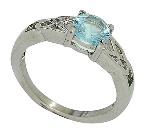 Birthstone Ring~March~Stainless Steel~Celtic~Cubic Zirconia CZ~Aquamarine~Light Blue Crystal~Mother's Ring~Fashion Ring~Women's Jewelry (9)