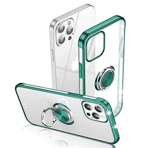 Sitikai Compatible with iPhone 12 Pro Max case 6.7 Inch TPU Metal Ring Magnetic Kickstand Soft Silicone Slim Flexible Bumper Protective Transparent Silm Anti-Scratch Shockproof Green for Men & Women