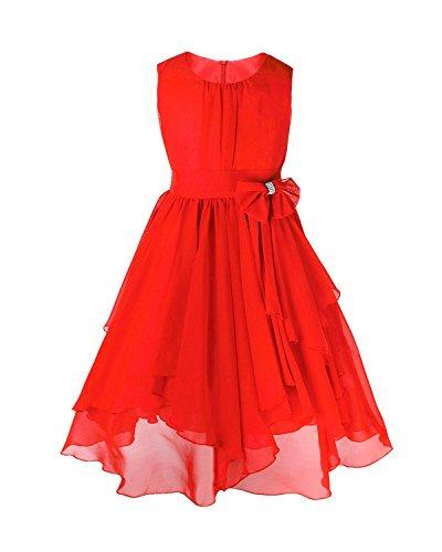 IEFIEL Vestido de Fiesta Princesa Gasa Bautizo Boda para Niña Vestido Casual de Ceremonia (4-14 Años) Rojo 12 años