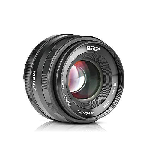 Meike 35mm F1.4 Large Aperture Manual Focus Lens APS-C for Sony E Mount Mirrorless Cameras NEX 3 NEX 3N NEX 5 NEX 5T NEX 5R NEX 6 7 A5000 A5100 A6000 A6100 A6300 A6500