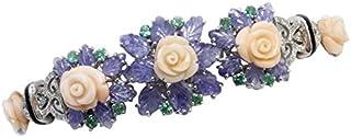 Bracciale Fiori di Corallo, Zaffiri, Diamanti, Smeraldi, Onice, Oro Bianco